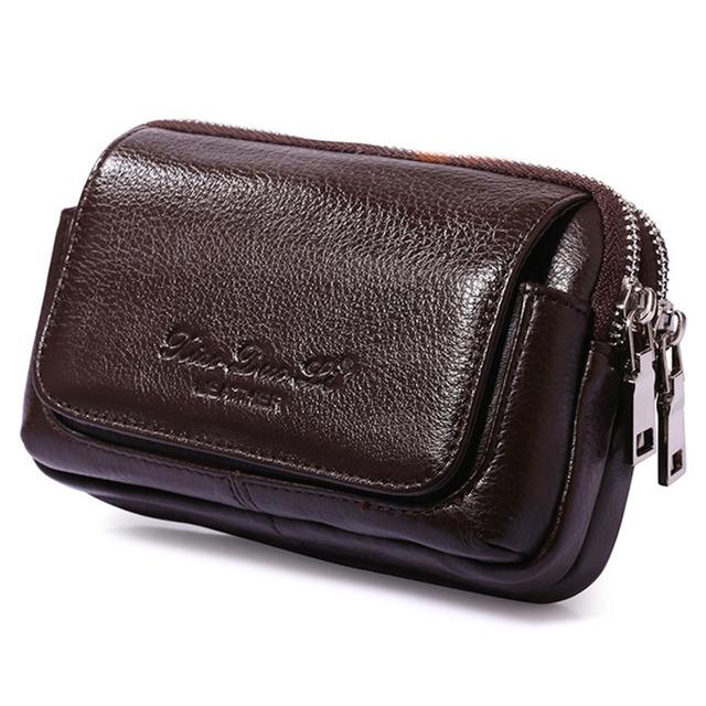 """Diseño de cintura Bolsa 100% Cuero Genuino 5.5-6 """"celular/Caja Del Teléfono Móvil Bolsos Monedero Hip Bolsa de Los Hombres de Doble Cremallera Mini Paquete de Fanny"""
