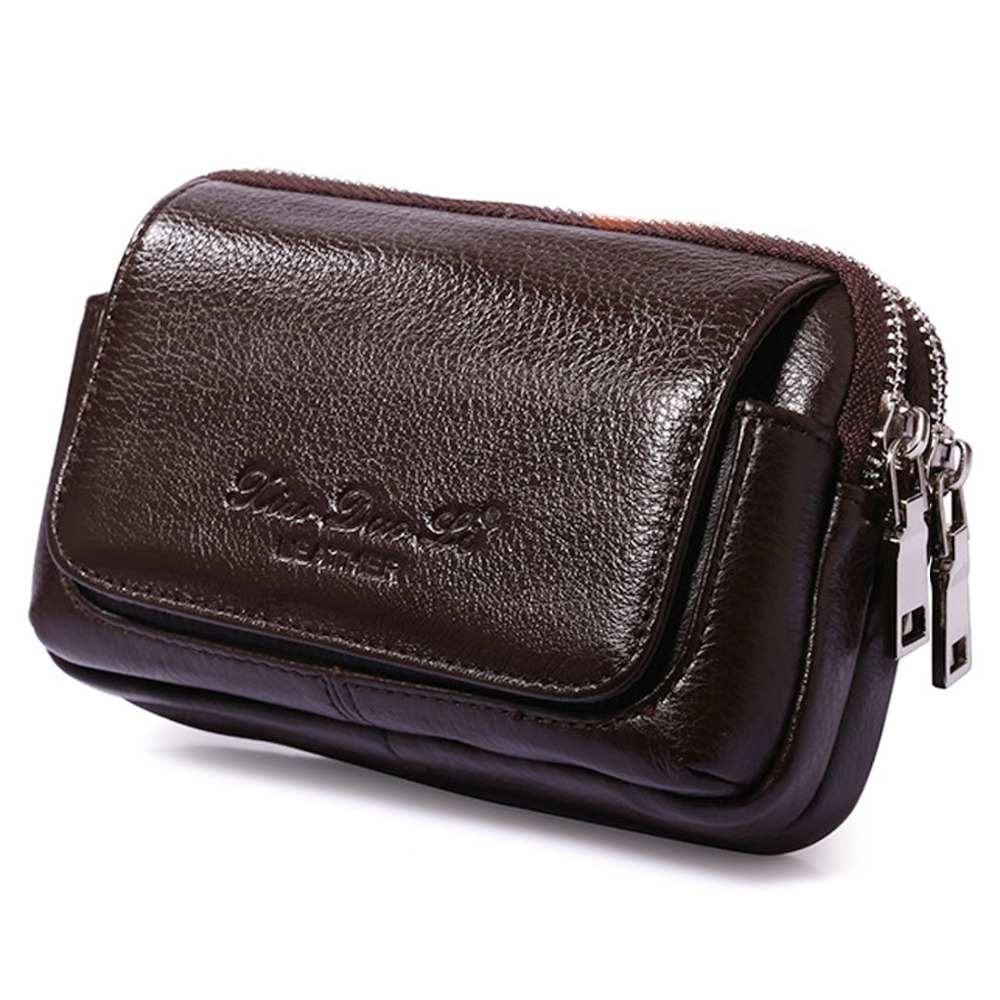 New Fashion Men Genuine Leather Waist Pack Bag Cell/Mobile Phone Case Coin Purse Pocket Pouch Male Military Belt Bum Bags 100% genuine leather men 5 5 6 5 inch cell mobile phone case bags hip design belt purse high quality waist hook coin purse bag
