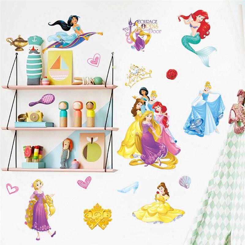 Belo Cinderalle Aurora Princesa Rapunzel Adesivos Decorativos Para O Quarto da Menina Decoração Da Casa Da Parede Dos Miúdos Decalques Cartaz