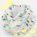 New Lovely Women Fashion Winter Horse Print Ring Scarf Cute Stripe Horses Animal Infinity Scarves Female Chevron Loop Shawl
