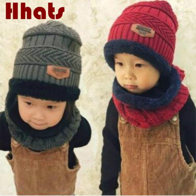 Который в душ Семейные зимнюю шапку и шарф набор толстый теплый флис подкладка вязаная шапка кольцо комплект дети девочка мальчик лыж Skullies крышка