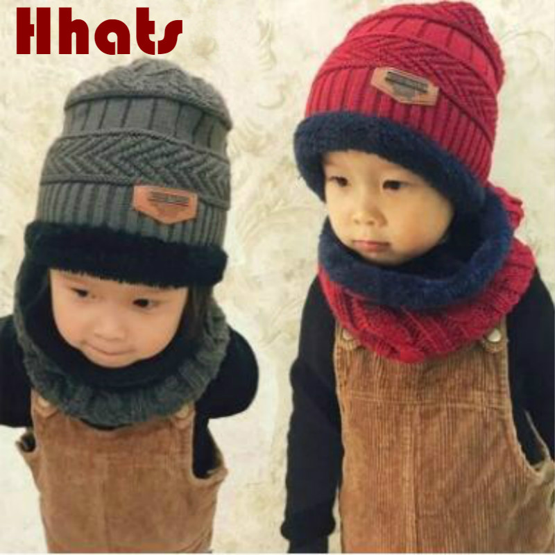 Which in shower family winter hat scarf set thick warm fleece lining knitted   beanie   ring set children girl boy ski   skullies   cap