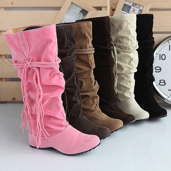 Плюс Размер 41 42 43 Кисточкой Женщины Высокие Ботинки Снега 6 цвета Осени 4 см Increaseing внутри Плиссированные Моды Замшевые Сапоги Женской Обуви