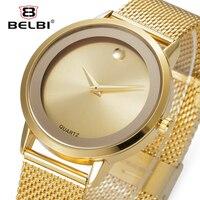 Belbi Top Marka Luksusowe Kobiety Stopu Stali Zegarka Mody Zegarki Kwarcowe Panie Złota Prosty Styl Casual Zegarki Eleganckie Relojes