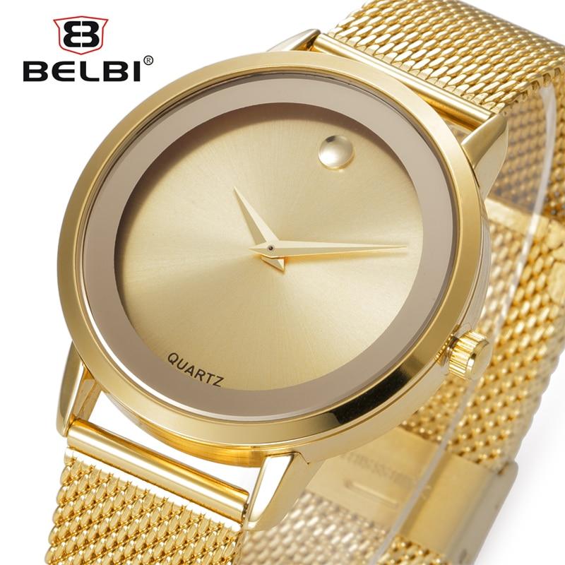 Prix pour Belbi Top Marque De Luxe Femmes Montre En Acier De Mode Alliage Quartz Montres Dames Or Simple Style Casual Montre-Bracelet Élégant Montres