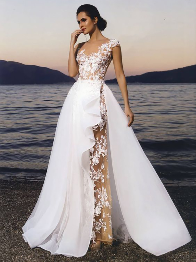 Smileven  Wedding Dress 2019 Cap Sleeve Lace Applique Bridal Dress Detachable Train Plus Size Champagne Tulle Beach Wedding Gown