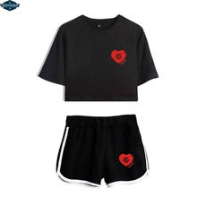 Twice Two Piece Set Summer Sexy Cotton Printed T shirt Album Woman Suit Shorts Crop Fashion Tops+Shorts Pants New 2018