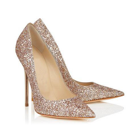 Bling Bling Women Wedding shoes woman Nude Shadow Coarse Glitter Fabric Pointy Toe Pumps Spring Autumn Stiletto Heels Plus size