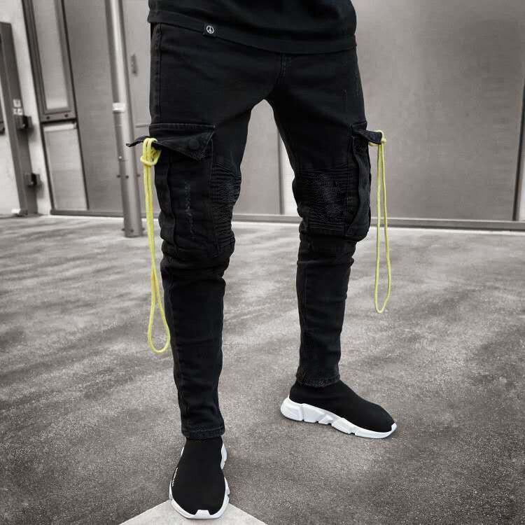 Fashion Men   Jeans   Hip Hop Cool Streetwear Biker Multi Pockets Black Skinny   Jeans   Slim Fit Mens Clothes Pencil   Jeans