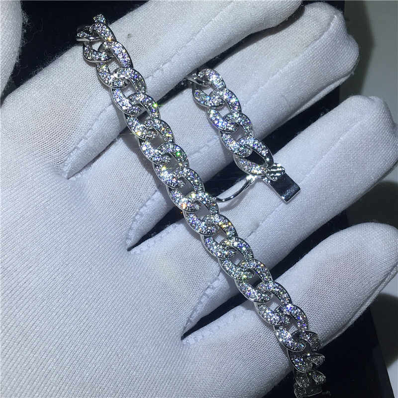 Vecalon Hiphop chian Bracelet pave set AAAAA Cubic Zirconia White gold filled Party wedding Bracelet for women men Rock Jewelry