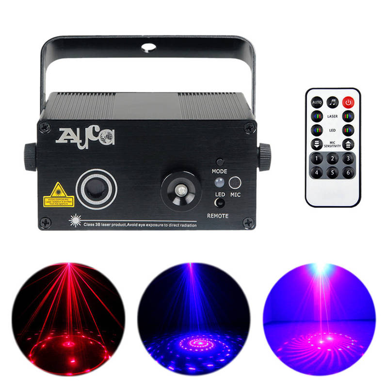 AUCD Mini 12 Patterns Red Blue Laser Projector Stage Light 3W Blue LED Mixing Effect DJ Home Party KTV Show Stage Lighting Z12RB 3 lens 36 patterns rg blue mini led stage laser lighting professinal dj light red gree blue