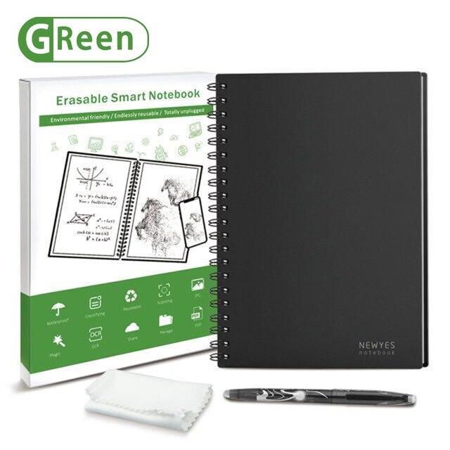NEWYES czarny środowiskowy A5 Wirebound Notebook wymazywalny inteligentny zeszyt wielokrotnego użytku do pisania szmatką i zmazywalny długopis