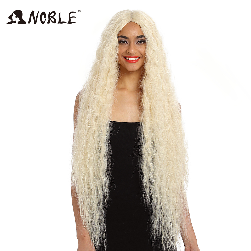 Noble Hair Synthetic Wig Lace Front Synthetic Wig Long Curly Ombre Blonde Wig 42 Inch 613 American Synthetic Lace Front Wig(China)
