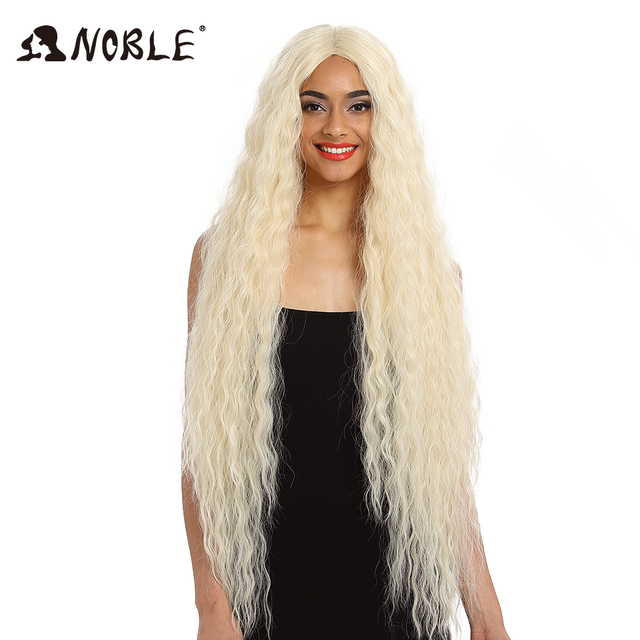 Noble Hair Synthetic Wig Lace Front Synthetic Wig Long Curly Ombre Blonde Wig 42 Inch  613 American Synthetic Lace Front Wig