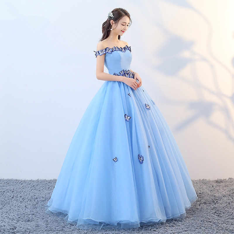 d759a7a9aebac ... ruthshen Fairy Vestido Debutante Cheap Prom Gowns Light Blue Ball Gown  Butterfly Quinceanera Dresses Simple Off ...