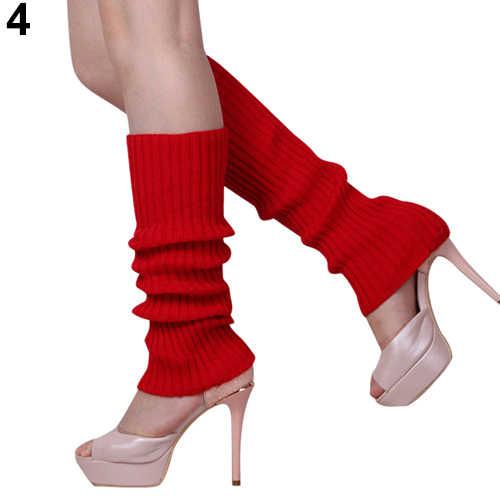 Señora mujeres Color caramelo de punto de invierno calentadores de pierna estilo suelto arranque hasta la rodilla medias para botas Leggings regalo botas cálidas pierna