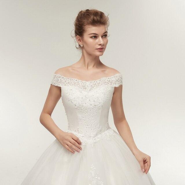 Fansmile Korean Lace Applique Ball Gowns Wedding Dresses 2020 Plus Size Bridal Dress Princess Wedding Gown Real Photo FSM-003F 4