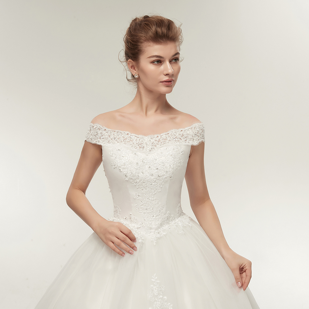 Us 537 5 Offfansmile Korean Lace Applique Ball Gowns Wedding Dresses 2018 Plus Size Bridal Dress Princess Wedding Gown Real Photo Fsm 003f In