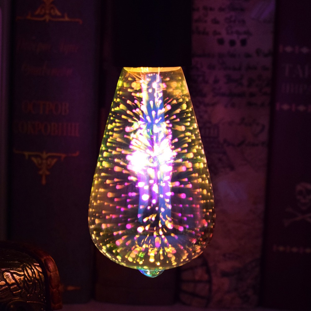 Novelty 3D LED Fireworks light Bulb 110V 220V 3D Lamp Vintage Atmosphere Decorative Christmas Holiday light A60 ST64 G80 G95