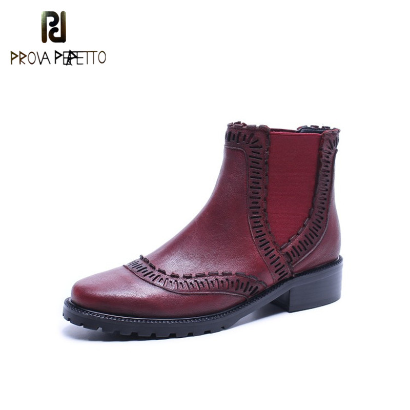 Prova Perfetto Popular British Style Genuine Leather Ankle Martin Boot Fashion Wine Red Round Toe Slip-on Low Heel Women Boots prova perfetto red color punk style genuine leather thick bottom woman mid boots solid round toe low heel rivet martin boots