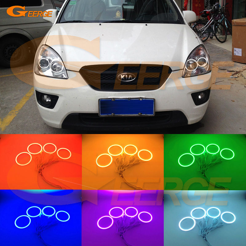 For KIA Rondo Rondo7 2006 2007 2008 2009 2010 2011 2012 Excellent Multi-Color Ultra bright RGB LED Angel Eyes kit for mazda cx 7 cx 7 2006 2007 2008 2009 2010 2011 2012 excellent multi color ultra bright rgb led angel eyes kit halo rings
