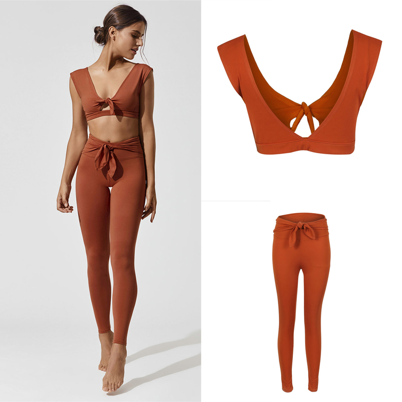 Women Two Piece Outfits For Streetwear Sexy Tied Up Design Solid Color Short Crop Tops+High Waist Bandage Pencil Pants