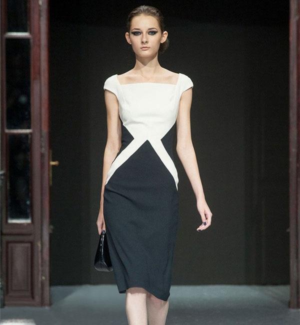 f37645ec9 Nueva moda 2015 verano europeo negro blanco contraste color ol vestido para  trabajar elegante Bussiness Vestidos