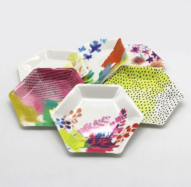 Online Shop Free Shipping 240pcs 7\u0027\u0027 Paper Plates Modern and Trendy Hexagonal shaped Fluorescent Floral and Metallic Gold Paper Dishes | Aliexpress Mobile : modern paper plates - pezcame.com