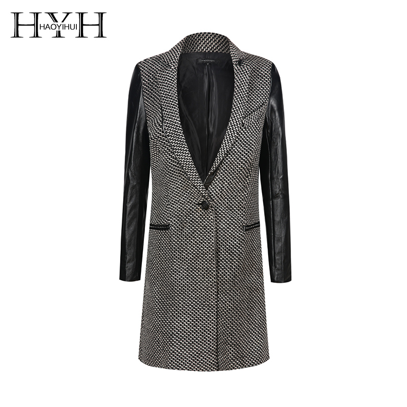 HYH Haoyihui 2019 Fashion Office Lady Wide-wasited Turn-down Collar Houndstooth Simple One Button   Trench   Autumn Women Coat