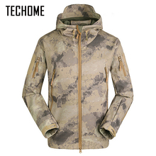 80014807fde47 Tactical Softshell Coat Military Jacket Men Waterproof Windproof Warm  Camouflage Hooded Camo Army Clothing - TECHOME
