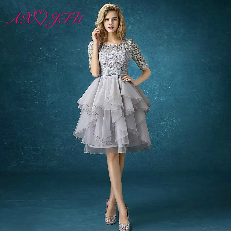 AXJFU new spring grey lace evening dress the bride princess evening dress graduation dinner party short