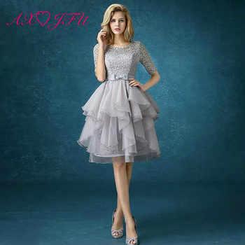 AXJFU new spring grey lace evening dress the bride princess evening dress graduation dinner party short evening dress - DISCOUNT ITEM  3 OFF Weddings & Events