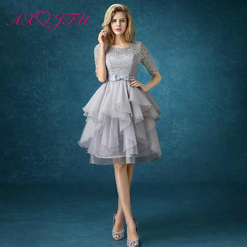 8339fd6d4 AXJFU nueva primavera gris vestido de noche de encaje de la novia de la  princesa vestido de noche cena de graduación fiesta vestido de noche corto