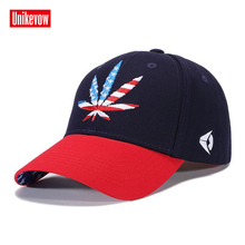 UNIKEVOW Cotton Mens Baseball Cap 3D Leaves Embroidered Leisure Sports Hats Flag