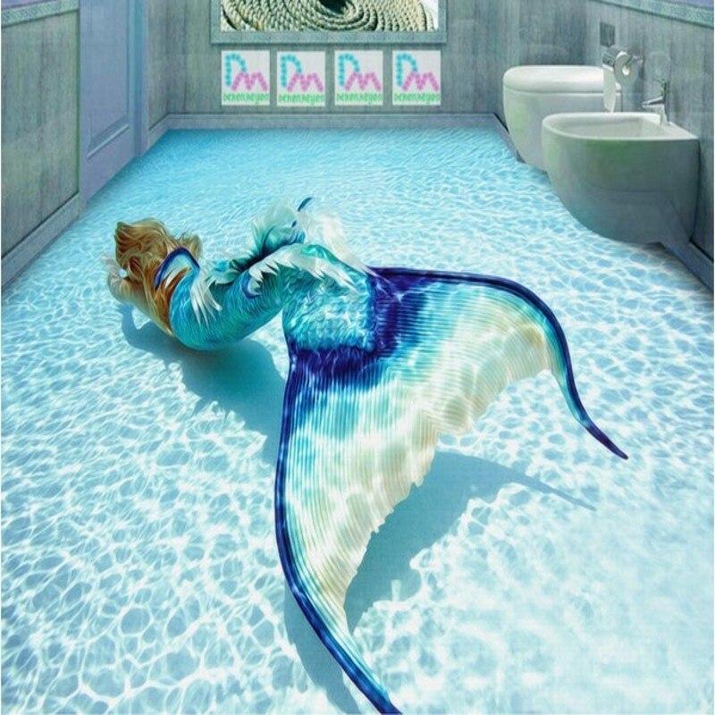 beibehang Personalized custom floor paste 3D underwater world oil painting mermaid waterproof wear anti slip murals