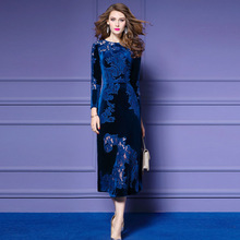 Fashion Elegant Womens Autumn and Winter New Velvet Embroidered Dress