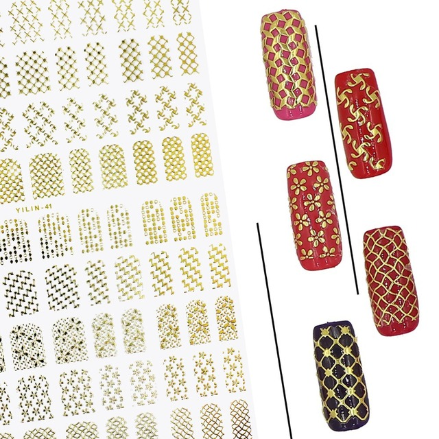 Metallic Gold Cross Hatch Pattern Tips Water Slide Nail Decals Classy Cross Hatch Pattern