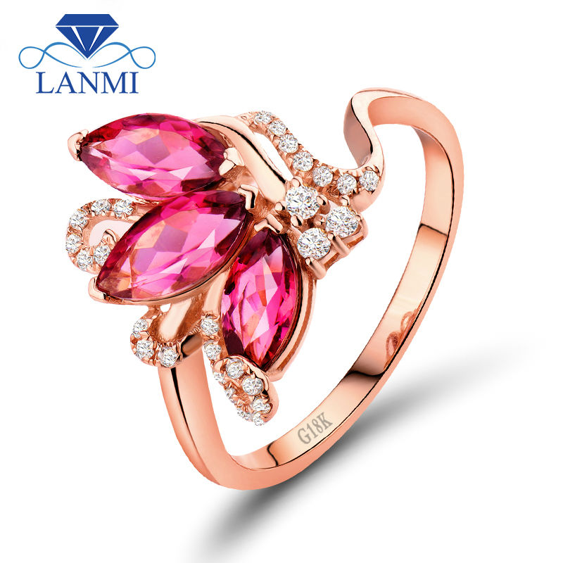 Marquise Pink Tourmaline Rings Natural Diamond 18K Rose Gold Engagement Ring Good Gemstone Jewelry SR00133 yoursfs 18k white rose gold plated austria crystal rose engagement ring flower rings women jewelry xmas present