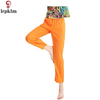 2018 Spring Summer New Ladies Pajamas Cotton Loose Thin Section Solid Color Pants Summer Large Yards Wear Pajama Pants JW093