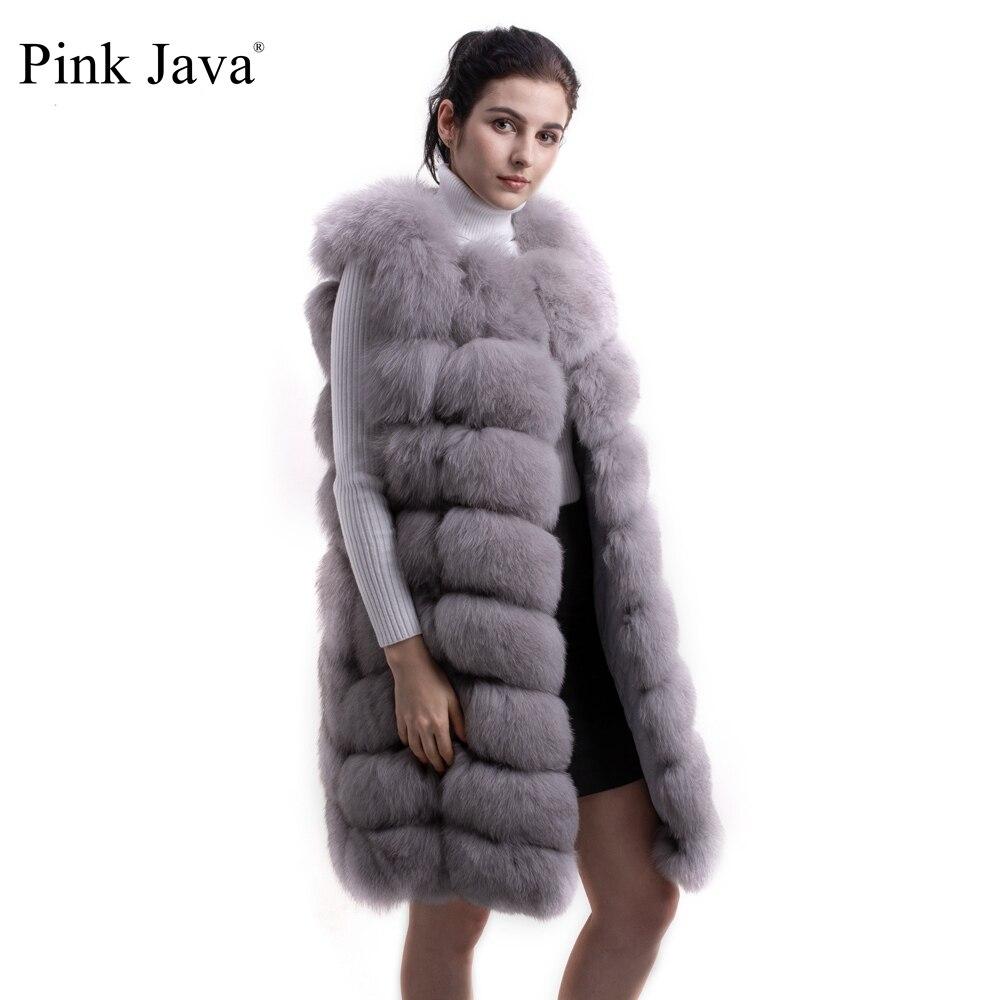 Rosa java QC8032 2016 NUOVO di alta qualità lunghezza reale della pelliccia di fox della maglia del rivestimento del cappotto 90 centimetri lungo della maglia di TRASPORTO LIBERO-in Pellicce vere da Abbigliamento da donna su  Gruppo 1