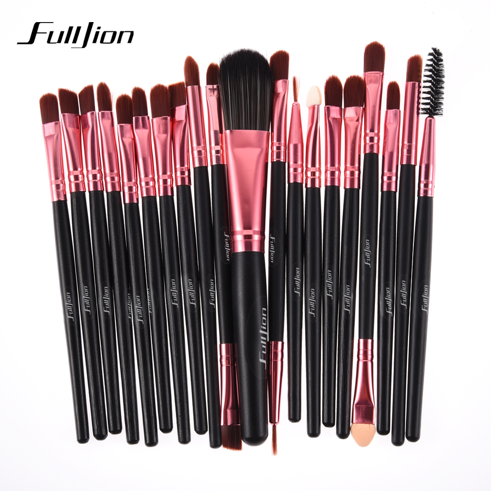 Fulljion 20Pcs Rose Black Makeup Brushes Set Pro Powder Foundation Eyeshadow Eyeliner Lip Blush Cosmetic Beauty Make up Brush