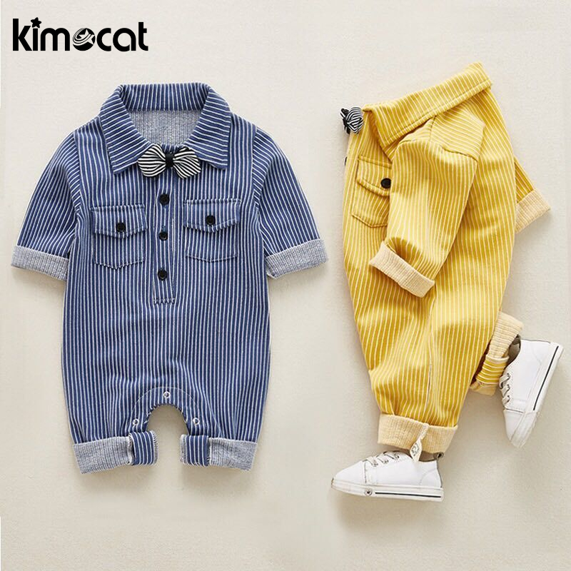 Kimocat Autumn Spring Baby Boy Clothes Long Sleeve Striped Cotton Handsome Necktie Baby   Rompers   New Born Baby Clothes Jump