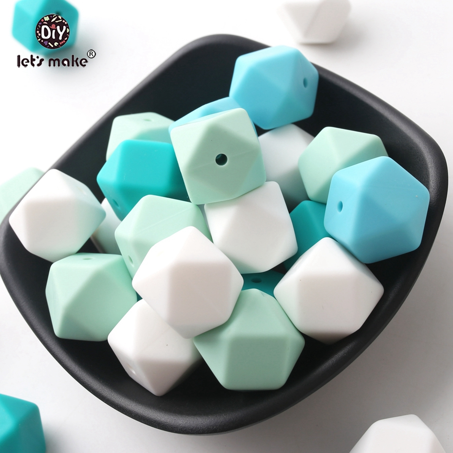 Let s Make Wholesal 500pc Large 17mm Geometric Hexagon Silicone Beads DIY Sensory Activity Teether Rattle
