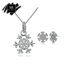 SR:FINEJ New Fashion DIY 925 Sterling Silver Jewelry SetsSilver Chain Snow Flower Shape Wedding Anniversary Jewelry Accessories(China)