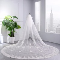2018 New White Ivory Two layers 350cm Lace Cathedral Wedding Veil With Comb Bridal Veils veu de noiva longo com renda