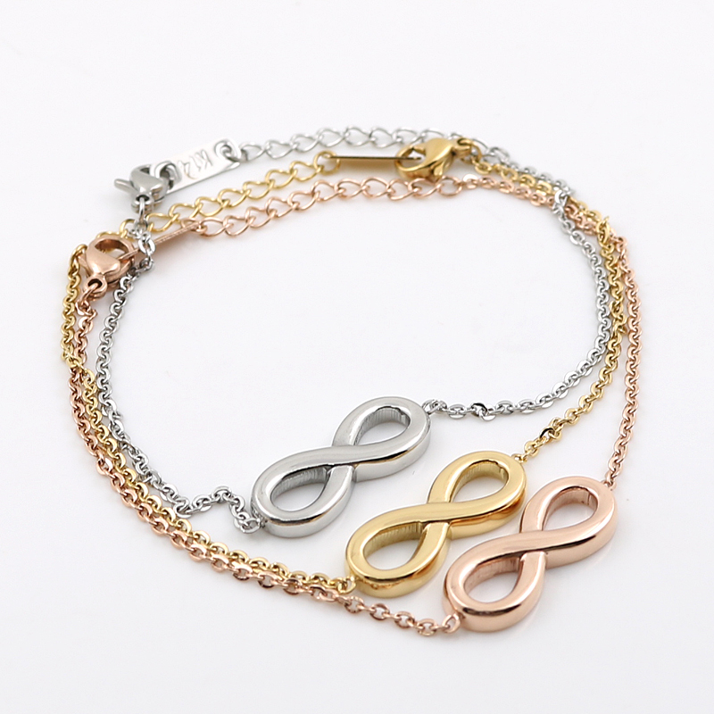 Promotion Custom Lucky Love Infinity Bracelet Whole Gold Color Stainless Steel Charm Knot Bracelets Friendship In From Jewelry