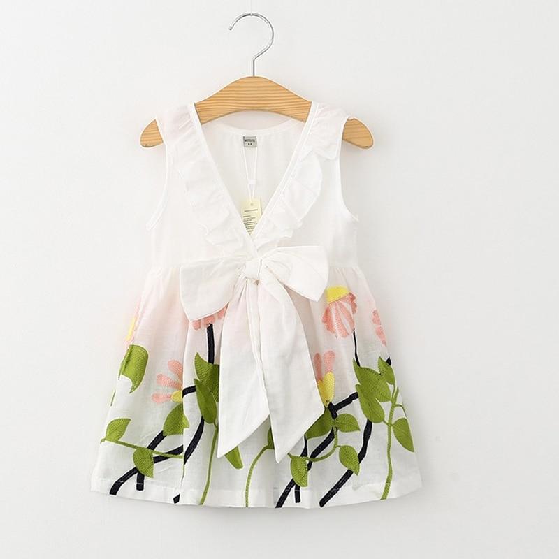 2017 Baby Girls Summer Dress Princess Costume Embroidery Flowers Children Dress Kids Girls Clothes Girls Dresses Leopard Print
