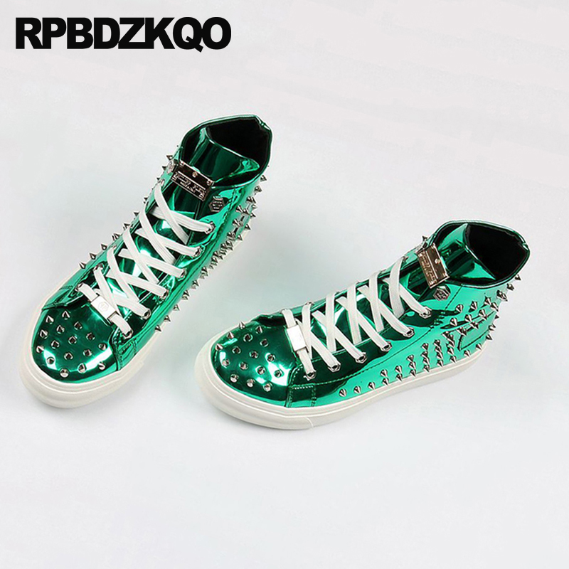 Rivet Men Shoes Italy Brand Skate Hip Hop Sneakers Elevator Stud Trainers Dandelion High Top Green Spike Lace Up Creepers Runway 5