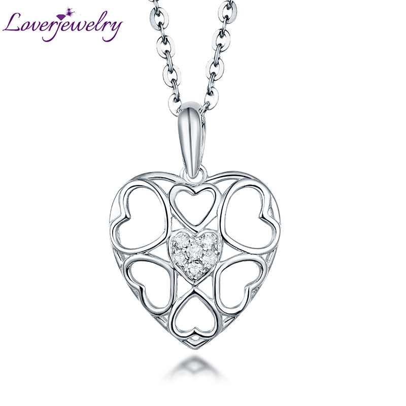LovIng Diamond Pendant Necklace Real 18K White Gold Fine Jewelry for Girlfriend Halloween Day Best Gift Wholesale yoursfs 18k rose white gold plated letter best mum heart necklace chain best mother s day gift