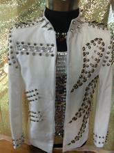 Plus size men fashion stage show white crystal rivet decorate jacket male singer Bar nightclub DJ party clothing coat costumes